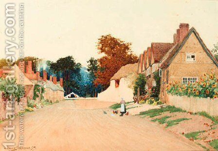 Feeding chickens on a country lane by Arthur Claude Strachan - Reproduction Oil Painting