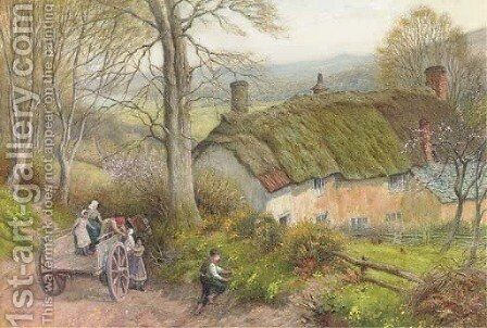 Gathering primroses by Arthur Claude Strachan - Reproduction Oil Painting