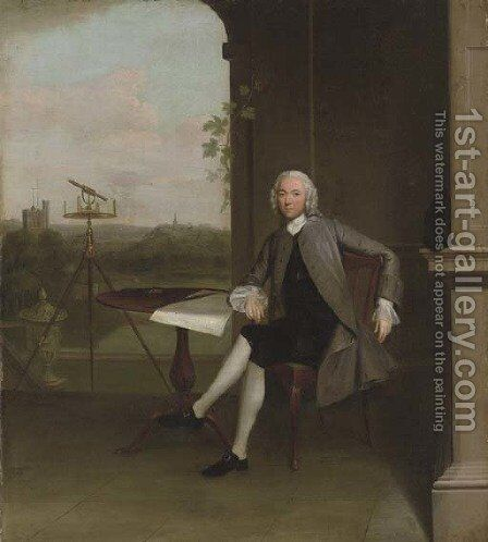 Portrait of Jonas Hanway, small full-length, seated at a table, beside a surveyor's theodolite and a classical urn, overlooking a landscape by Arthur Devis - Reproduction Oil Painting