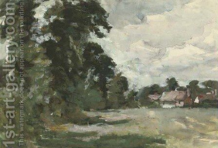 Tree lined meadow with thatched cottages by Arthur Douglas Peppercorn - Reproduction Oil Painting