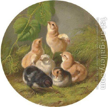 Chicks by Arthur Fitzwilliam Tait - Reproduction Oil Painting