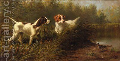 On Point, A Setter and Pointer wih a Woodcock by Arthur Fitzwilliam Tait - Reproduction Oil Painting