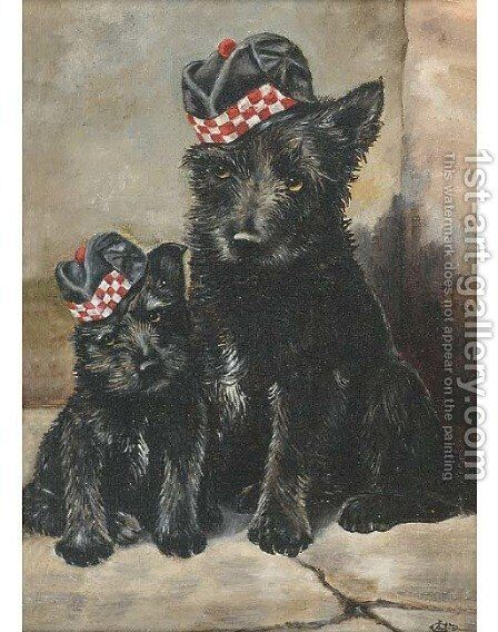 Two Scotties by Arthur Hughes - Reproduction Oil Painting