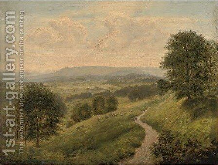 A path through a summer landscape by Arthur Gilbert - Reproduction Oil Painting