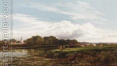 Marlow from the Thames by Arthur Gilbert - Reproduction Oil Painting