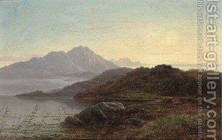 Sunset over the loch 2 by Arthur Gilbert - Reproduction Oil Painting