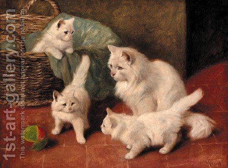 A family of cats at play by Arthur Heyer - Reproduction Oil Painting