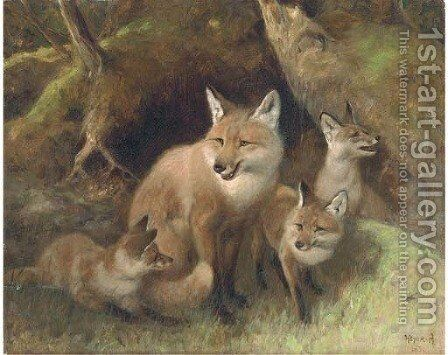 A fox with cubs by Arthur Heyer - Reproduction Oil Painting