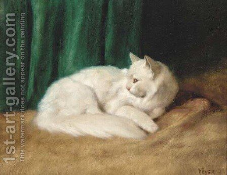 A white cat by Arthur Heyer - Reproduction Oil Painting