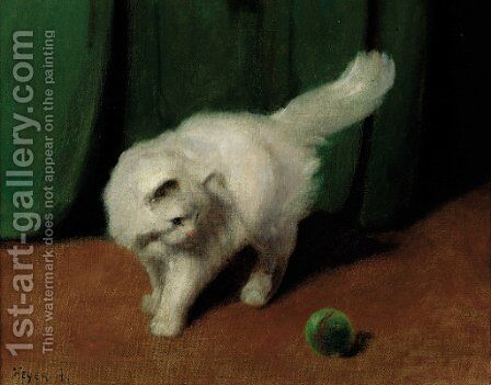 A white Persian cat with a ball by Arthur Heyer - Reproduction Oil Painting