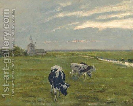Cattle before a windmill at dusk by Arthur Heyer - Reproduction Oil Painting