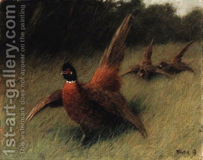 Pheasants in a Landscape by Arthur Heyer - Reproduction Oil Painting
