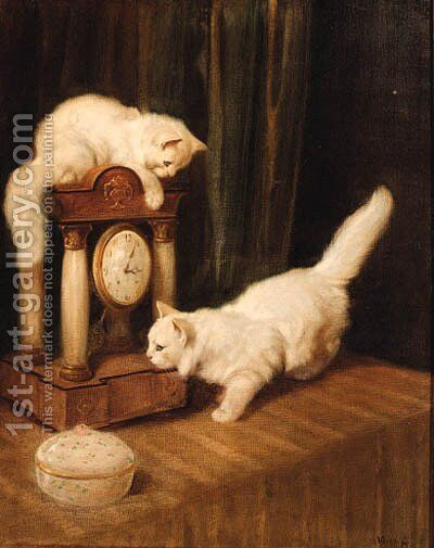 Two Persian cats with a clock on a table by Arthur Heyer - Reproduction Oil Painting