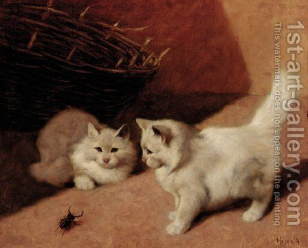 Two white Persian cats with a stag beetle by Arthur Heyer - Reproduction Oil Painting