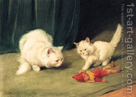 Two white Persians with a wooden Toy by Arthur Heyer - Reproduction Oil Painting
