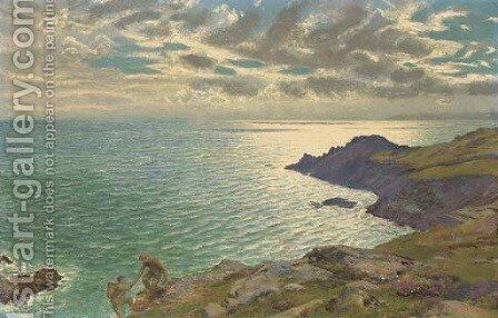 Cliff Searchers by Arthur Hughes - Reproduction Oil Painting