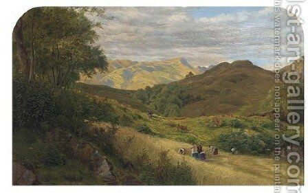 Haycutting, Capel Curig by Arthur James Lewis - Reproduction Oil Painting