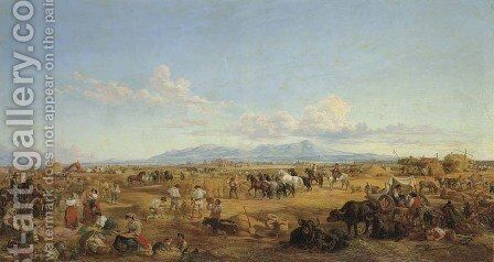 Haymaking in the Roman Campagna by Arthur John Strutt - Reproduction Oil Painting