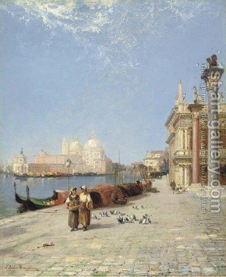 Venice - The Pigeons of St Mark by Arthur Joseph Meadows - Reproduction Oil Painting