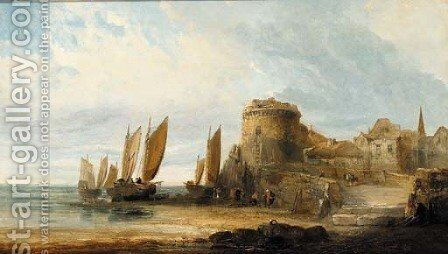 Figures before a fortified coastal town by Arthur Joseph Meadows - Reproduction Oil Painting