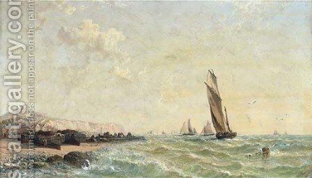 The Calais fishing fleet in coastal waters by Arthur Joseph Meadows - Reproduction Oil Painting