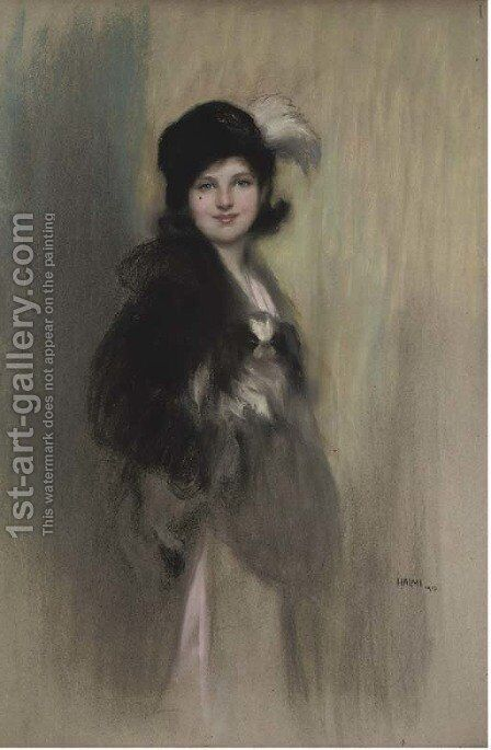 Portrait of Lady Dorothy Duveen, as a young girl, three-quarter-length, in a feathered hat by Artur Lajos Halmi - Reproduction Oil Painting