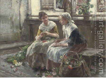 The two flower girls by Arthur Langhammer - Reproduction Oil Painting