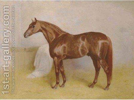 Charibert, a chestnut racehorse in a stable by Arthur Louis Townshend - Reproduction Oil Painting