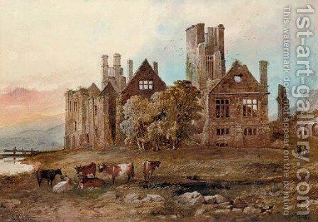 Cattle grazing before a ruined castle by Arthur Sr MacArthur - Reproduction Oil Painting