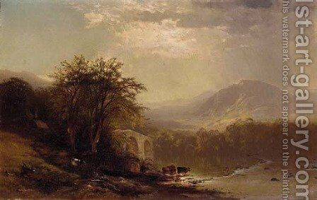 Cows Along the River Bank by Arthur Parton - Reproduction Oil Painting