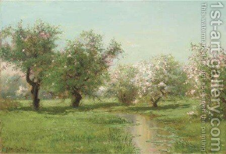 The Orchard in Spring by Arthur Parton - Reproduction Oil Painting