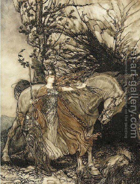 Brunhilde with her horse at the mouth of the cave by Arthur Rackham - Reproduction Oil Painting