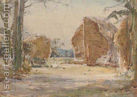 A Norfolk rickyard by Arthur Reginald Smith - Reproduction Oil Painting