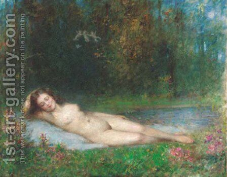 A nymph lying in a wooded river landscape by Arthur von Ferraris - Reproduction Oil Painting
