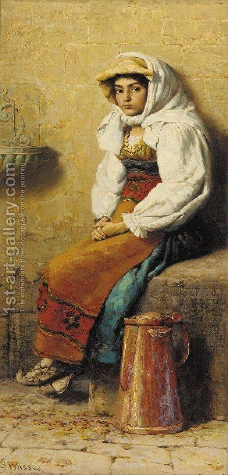 An Italian peasant girl by Arthur Wasse - Reproduction Oil Painting