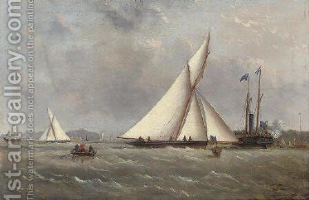 A big cutter approaching the turning mark with the crowded club steamer beyond by Arthur Wellington Fowles - Reproduction Oil Painting