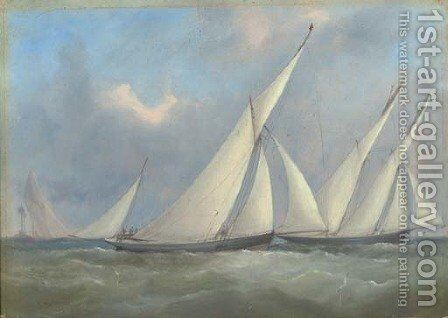 Florinda and Gwyndoline racing off the Nab lightship by Arthur Wellington Fowles - Reproduction Oil Painting
