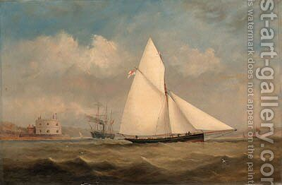 Terpsichore, a racing cutter, and a large Paddle-Steamer off Hurst Castle, on the Solent by Arthur Wellington Fowles - Reproduction Oil Painting