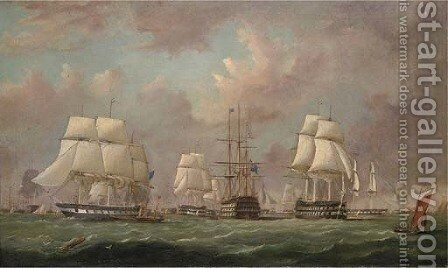 Queen Victoria, aboard the Royal Yacht Fairy, inspecting the Baltic Fleet as it prepares to sail in March 1854 by Arthur Wellington Fowles - Reproduction Oil Painting