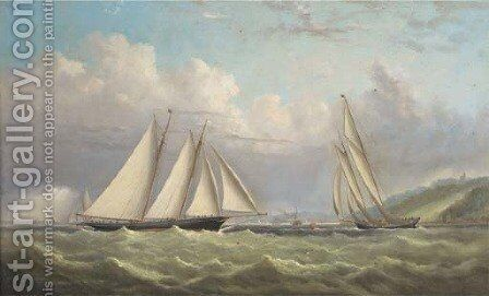 Racing schooners rounding the turning mark in Osborne Bay with Norris Castle above and Ryde beyond by Arthur Wellington Fowles - Reproduction Oil Painting