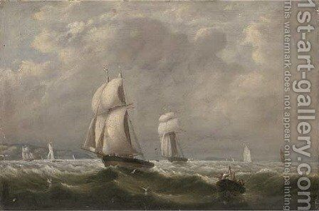 Sailing match by schooners of the Royal Yacht Squadron 23rd August 1837, Dolphin in advance of Menai by Arthur Wellington Fowles - Reproduction Oil Painting