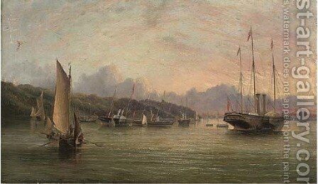 The flotilla of Royal Yachts lying in Osborne Bay prior to Queen Victoria's departure for France in August, 1855 by Arthur Wellington Fowles - Reproduction Oil Painting