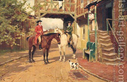 A Rest outside the Inn by Arthur Walker Redgate - Reproduction Oil Painting