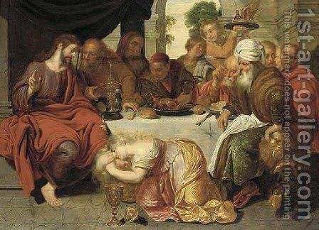 Mary Magdalen washing the feet of Christ by Artus Wolffort - Reproduction Oil Painting