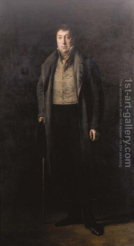 Portrait of General Lafayette (1757-1834), full-length, in a great coat over a stripped waistcoat, holding a hat and a stick by Ary Scheffer - Reproduction Oil Painting