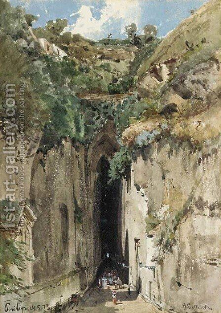 The caves at Posillipo by Ascan Lutteroth - Reproduction Oil Painting