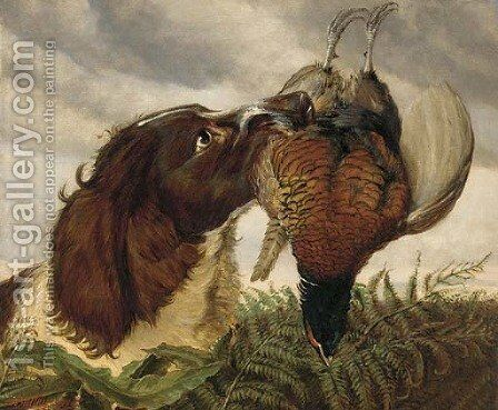 A spaniel with a pheasant by Ashburnham H. Bulley - Reproduction Oil Painting