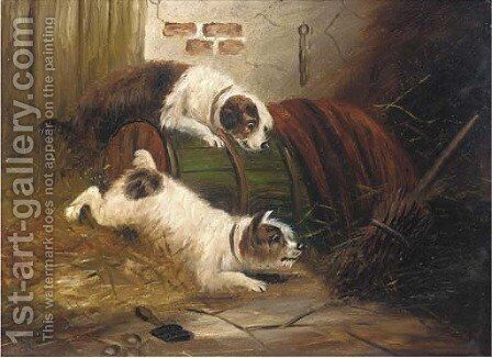 Terriers ratting in a barn by (after) J. Langlois - Reproduction Oil Painting