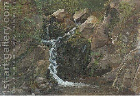 A waterfall in Morgenbach, Germany by Attibuted To Carl Dahl - Reproduction Oil Painting