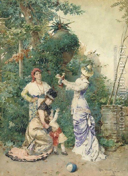 Playing in the garden by Attilio Simonetti - Reproduction Oil Painting